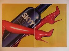 2010 Print Ad Sexy Girl Skyy Vodka ~ Bottle Riding Red Latex Boots