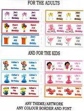 36 x PERSONALISED BIRTHDAY PARTY POPPER LABELS/WRAPPERS