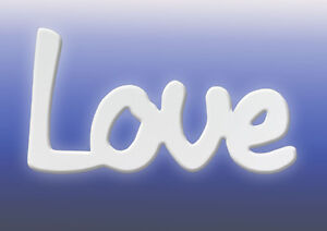 """""""Love"""" Inspirational Home/Kitchen Word in white from Splosh Gifts 24x13cm"""