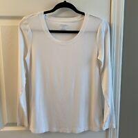 Cynthia Rowley White LS Scooped Neck T Shirt Sz M