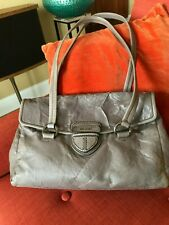 AUTHENTIC PRADA NAPPA Antique Grayish-Taupe Wrinkled Leather Tote/Handbag, ITALY