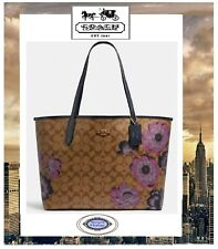 NWT COACH CITY TOTE Signature Canvas With KAFFE FASSETT Print In KHAKI PURPLE