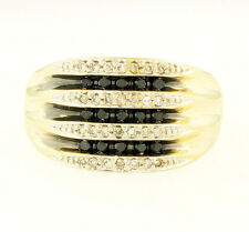 9Ct Yellow Gold Black & White Diamond(0.50ct) Cluster Ring (Size O) 12mm Widest