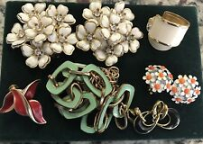 Vintage jewelry lot, enamel, clip earrings, necklace, White Red Green Black