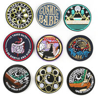 DIY Round Embroidery Sew Iron On Badge Patches Clothing Fabric Crafts Applique