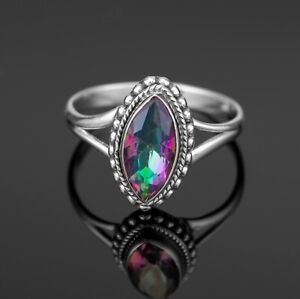 Mystic Topaz Marquise 925 Sterling Silver Ladies Ring Gemstone Jewellery Gift