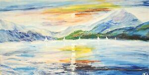 """Rainbow Bay"" Original Painting- De Martino Art"