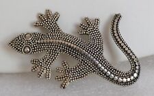 Vintage Sterling Silver Dot Lizard Pin Textured Sinuous Gecko Reptile Brooch