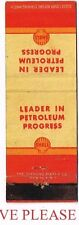 1940s Shell Oil Leader In Petrolium Progress Matchcover