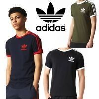 adidas Originals Mens California Trefoil T-Shirts 3 Stripes Crew Neck Sports Tee