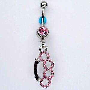 Brass Knuckles PINK Gemstone Dangle Belly Button Navel Ring Bar Jewelry (B14)
