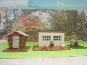 HO scale lot of 3 Farm out buildings detailed,painted,