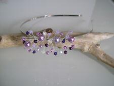 Serre tête bijou cheveux mauve parme violet robe Mariée/Mariage/Cérémonie perle