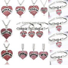 Pink Rhinestone Heart Pendant Charm Bracelet Chain Necklace Mothers Gift Jewelry