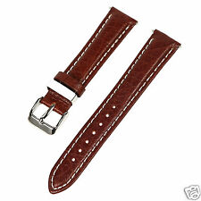 18mm Dark Brown w/ White Stitching Thick Leather Watch Band Fit Timex Expedition
