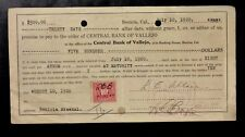 {BJSTAMPS}  1920 Benicia, CA Promissory NOTE w/ REVUNE Stamp 500 In Gold