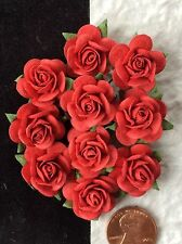 10 Roses rose Red Mulberry Paper handmade Wedding Valentines Cards Flowers card