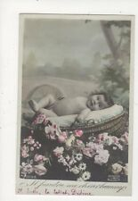Baby In Basket Vintage RP Postcard France Children 426a