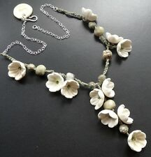 OOAK necklace white daisy flower artisan bead 925 sterling silver linen lariat