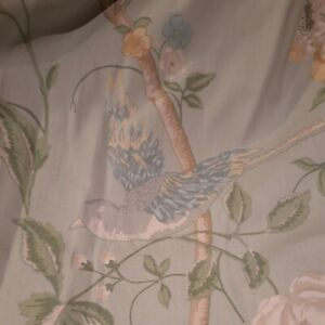 Laura Ashley Duck egg green Summer Palace Birds Lined Curtains W62XL72 INCHES