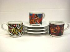 Lavazza Cafe des Arts Limited Edition 3 Vintage Espresso Cup and Saucer Set
