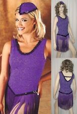 LADY BE GOOD Dance Costume Purple Flapper Fringe Leotard Chicago Adult Large New