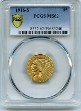 1916-S  $5 Indian Gold Coin  PCGS  MS 62