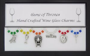 Game of Thrones Set of 6 Wine Glass Charms Handmade Just for You - Set 3 of 3