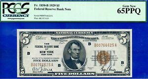 FR-1850-B -1929 $5 National Currency (( New York )) PCGS Gem 65PPQ # B00766625A-