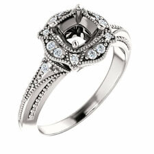 10K White Gold Round Diamond Semi Mount Vintage-Inspired Accented Bridal Ring