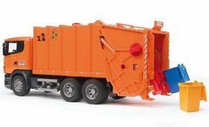 SCANIA R-series Garbage Truck orange Bruder Toy Car Model 1/16 1:16