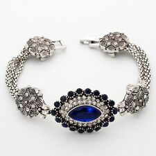 Fantastic Blue Marquise Cubic Zircon Silver Plated 19 cm Lady Girl Bracelet