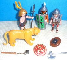 Lot of 3 Playmobil  ROMAN SOLDIERS , a Lioness and a few shields and weapons