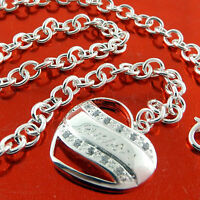 A462 GENUINE REAL 925 STERLING SILVER S/F DIAMOND SIMULATED HEART NECKLACE CHAIN