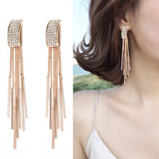 Gold Long Crystal Tassel Dangle Earrings for Women Wedding Drop Earings Jewelry