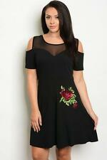 NEW..Beautiful Plus Size Black Dress with Bling Flower Motif..Sz14/1xl