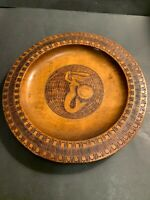 VTG Hand Carved Wood Inlayed With Metal Decorative Plate With Mermaid of Warsaw