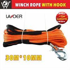 LAYOER Dyneema Winch Rope 10mm 30m Synthetic hook Tow Recovery Cable Wire Orang