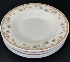 4 Syracuse China Soup Salad Bowls SY372 Gray Geometric Bands Blue Maroon Floral