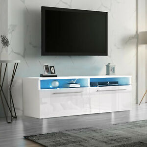 Modern TV Unit Cabinet Stand White High Gloss Door With LED Lights Drawers