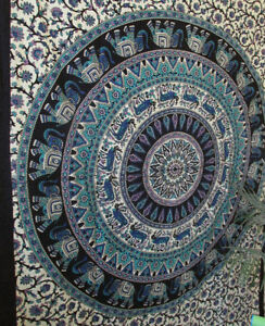 new  Elephant Twin  Indian Hippie Beach Blanket Wall Hanging Mandala Tapestry Th