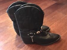 Dingo Women's Fashion Cowboy Cowgirl Black Boots Chain Harness Strap Youth Sz 6