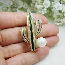 Cactus Pearl Brooch Pin High Quality Gold Tone New Zircon Green Crystal Desert