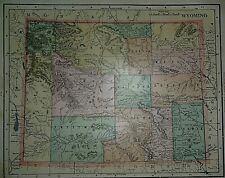 New ListingRare Vintage 1899 Atlas Map ~ Wyoming - Cheyenne ~ Old & Authentic ~ Free S&H