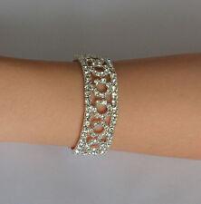 Fashion Elegant Silver Crystal Rhinestone Bracelet Elastic Bangle Wedding