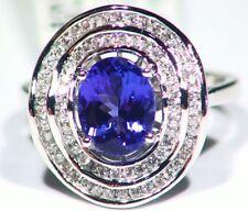 2.47ct 14k ORO Tanzanita Natural Diamante Vintage AAAA Anillo Compromiso Boda