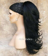 Black Ponytail Extension Hair piece Long  Straight Clip in on layered wavy #1B