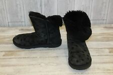 UGG Kids Bailey Button II Stars Boots, Big Girl's Size 4, Black (Damaged)