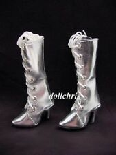 Shoes Boots for Tonner Tyler Doll Metallic Silver Sydney Tall Lace-Up Custom Sz