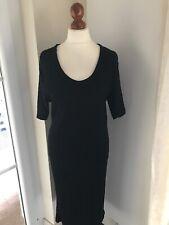 Ulla Popken Kleid 48/50 Ripp Shirtkleid Schwarz Kurzarm Midi XXL Dress